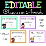 EDITABLE Class Superlatives - End of Year Classroom Awards