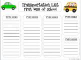 {EDITABLE} Class Transportation List - Orientation, Open House, Sub Binder List