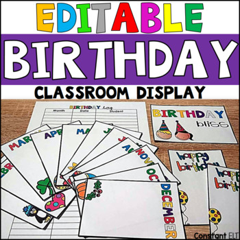 EDITABLE Classroom Birthday Display