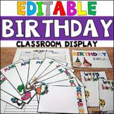EDITABLE Classroom Birthday Display