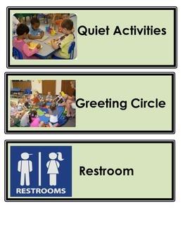 EDITABLE Classroom Daily Schedule For Pre K/Kindergarden class