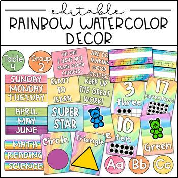EDITABLE Classroom Decor- Watercolor Rainbow