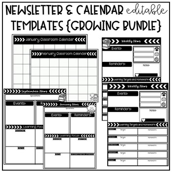 Newsletter and Calendar Editable Templates: Growing Bundle