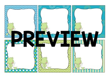 UPDATED! EDITABLE Classroom Frog Labels - Turquoise and Green