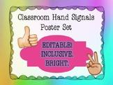 *EDITABLE* Classroom Hand Signals Poster Set