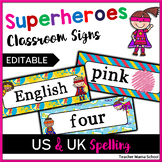 EDITABLE Classroom Decor Signs - Superhero Superheroes Theme