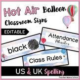 EDITABLE Classroom Decor Signs - Watercolor Hot Air Balloon Theme