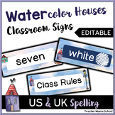 EDITABLE Classroom Decor Signs - Watercolor Quaint Houses Theme