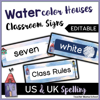 EDITABLE Classroom Header Cards - Watercolor Quaint Houses Theme