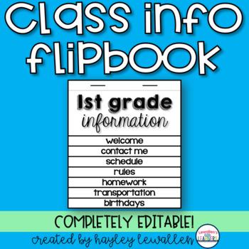 EDITABLE Classroom Info Flipbook