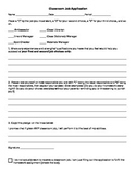 EDITABLE Classroom Job Application!