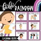 EDITABLE Classroom Job Chart | Boho Rainbow Theme