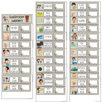 EDITABLE Classroom Job Chart Hipster Forest Theme