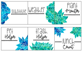 EDITABLE Classroom Jobs: Blue and Green Watercolor Floral