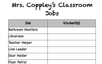 EDITABLE Classroom Jobs Complete!