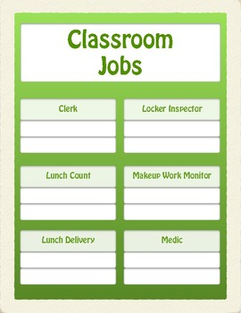 EDITABLE Classroom Jobs Display (GREEN)