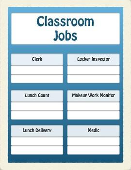 EDITABLE Classroom Jobs Display (Turquoise)