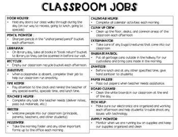 EDITABLE Classroom Jobs/Leadership Roles Set