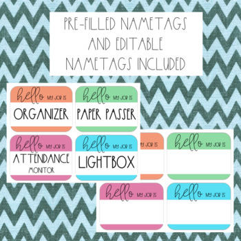 EDITABLE Classroom Jobs - Nametags