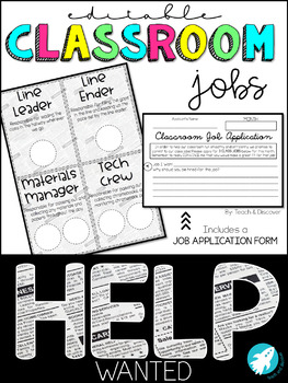 EDITABLE Classroom Jobs with Job Application