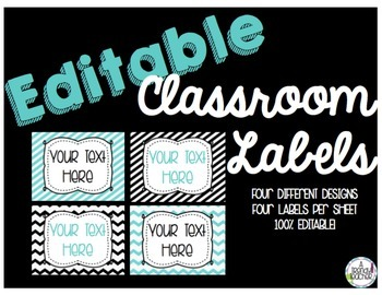 EDITABLE Classroom Labels [Black and Blue]