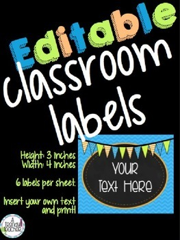 EDITABLE Classroom Labels [Blue, Orange & Green]