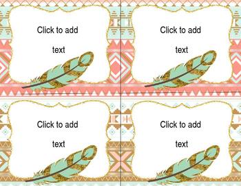EDITABLE Classroom Labels - Boho Feather/Tribal Theme