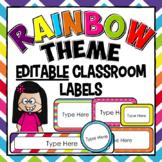 EDITABLE Classroom Labels - Bright Colors Rainbow Class Decor