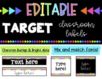 EDITABLE Classroom Labels * Fits Target Adhesive Rectangle Label Pockets
