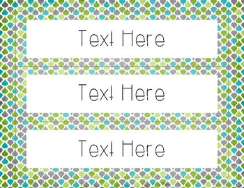 EDITABLE Classroom Labels - Green, Gray, and Blue