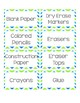 EDITABLE Classroom Labels: Green and Blue Theme
