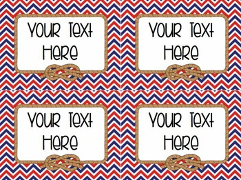 EDITABLE Classroom Labels [Nautical Theme]