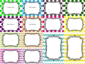 EDITABLE Classroom Labels ~ Polka Dot and Chevron