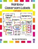 EDITABLE Classroom Labels: Rainbow Theme