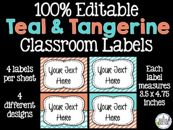 EDITABLE Classroom Labels [Teal & Tangerine]