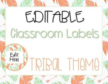 EDITABLE Classroom Labels - Tribal, Arrow, BohoTheme - mint, coral, gold, navy