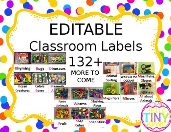 EDITABLE Classroom Labels (real pictures)