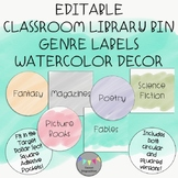 EDITABLE-Classroom Library Bin Genre Labels-Watercolor Decor
