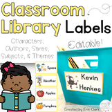 EDITABLE Classroom Library Labels {Characters, Authors, Series, & Subjects}