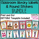 EDITABLE Classroom Library Labels for Bins and Books BUNDL