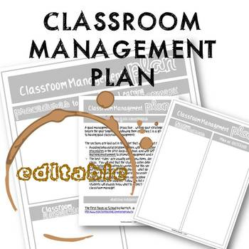 EDITABLE Classroom Management Plan