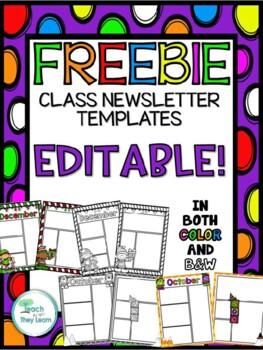 EDITABLE Classroom Newsletter Template