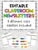 EDITABLE Classroom Newsletter Templates {Brights, Black &