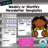 EDITABLE Classroom Newsletters *Themed by Month*