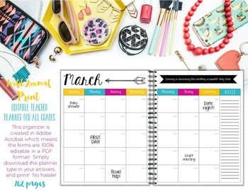 Teacher/Life Planner for UPPER Grades: Wild Animal Print Theme - Editable