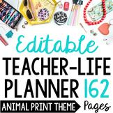 Teacher/Life Planner for UPPER Grades: Wild Animal Print Theme - Editable