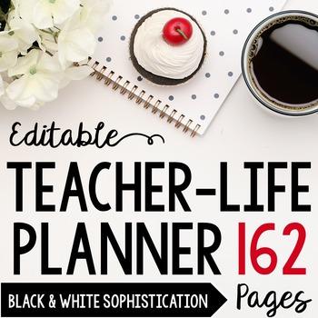 Teacher/Life Planner for UPPER Grades: Black & White Sophi
