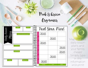 Teacher/Life Planner for UPPER Grades: Green & Pink Theme - Editable