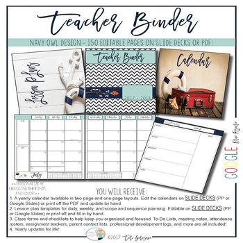 EDITABLE Teacher Binder: Navy Owl {Google Drive Resource}