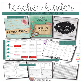 EDITABLE Teacher Binder: Seascape Shabby Chic {Google Drive Resource}